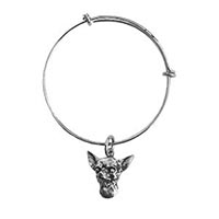 Antique Pewter Chihuahua Charm Bangle Bracelet
