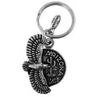 Round Arizona With Eagle Key Chain