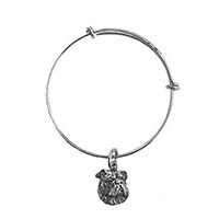 Antique Pewter Bulldog Bangle Charm Bracelet