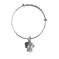 Antique Pewter Beagle Bangle Charm Bracelet